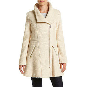GUESS Asymmetrical Zip Fit And Flare Coat Ivory